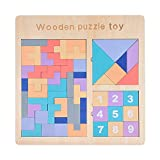 Sanery(サネリー) テトリス パズル おもちゃ タングラム ブロック ウッドマッチング 木製 プレゼント 親子ゲーム 3種類遊び方 テトリス 数字のブロックおもちゃ 積み木 知恵の板 図形 幾何 軽い
