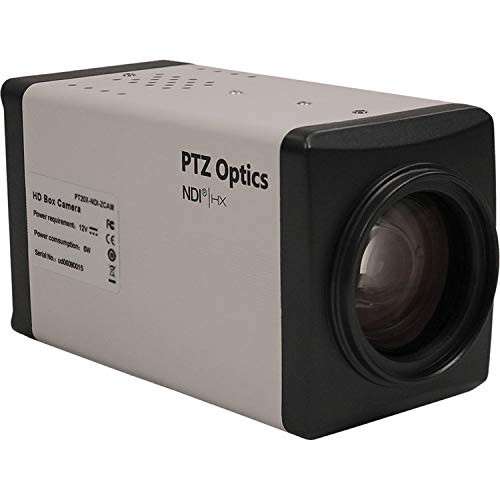 PTZOptics NDI|HX ZCam 1080P Cámara de interior HD-SDI Box Camera de 20 x zoom óptico, color blanco