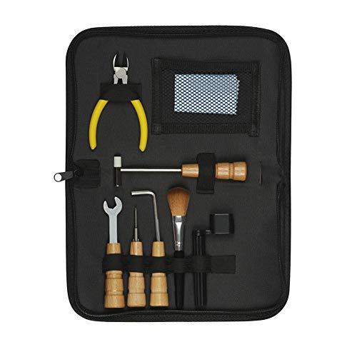 Jinclonder Guitar Repair Tool Kit inclusief polijstpiano, stofverwijderingsborstel, wikkelaar, hamer, tang, hoeksleutel, inbussleutel en kruiskopschroevendraaier