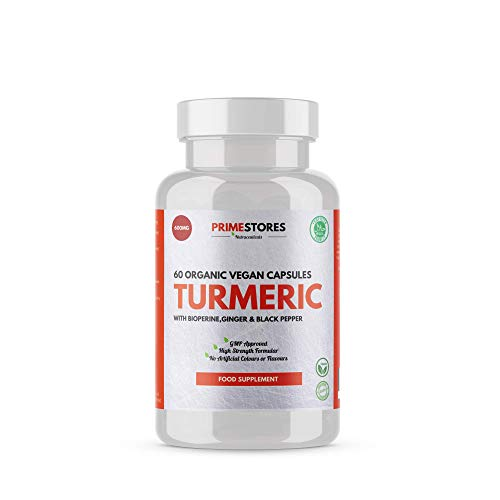 Turmeric Curcumin Black Pepper Bioperine Tablets 600mg - 60 Organic Vegan Capsules - High Strength Joint Pain Supplement Pills by Primestores