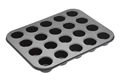 masterclass Antihaft-Mini-Törtchen-Backblech mit Mulden und losen Böden, Stahl, Grau, 27 x 35 x 4 cm