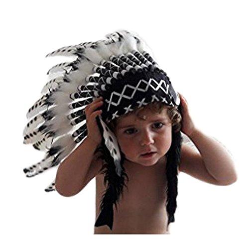 KARMABCN N11- De 2-5 años Niño/Niño: 3 colores Indian Headdress 20,5 inch. - 52 cm (DOTS SWAN)