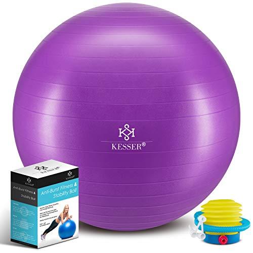 KESSER® Gymnastikball mit Luftpumpe Pumpe - Dicker Yogaball 65cm BPA-Frei | Sitzball Büro Anti-Burst als Fitness Yoga Core Büro-Stuhl als Fitness Kleingeräte, Balance Stuhl Gym-Home-Büro, Lila