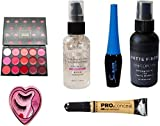 MAKEUP KIT FOR GIRLS, 1 Lipstick Pallet,1 Foundation Illuminating Primer,1 Black Eyeliner,1 Matte Fixer,1 False Eyelashes,1 Concealer