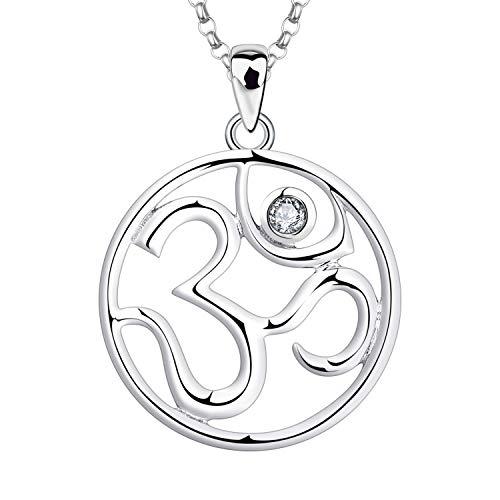 JO WISDOM Damen Kette Silber 925 Halskette Anhänger Indische Yoga Om Zeichen Amulett Ohm mit 3A Zirkonia April Geburtsstein