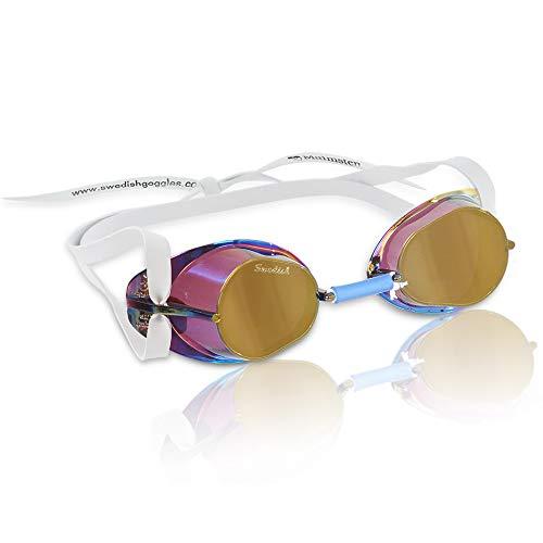 Malmsten Schwedenbrille verspiegelt Schwimmbrille, Gold, One Size