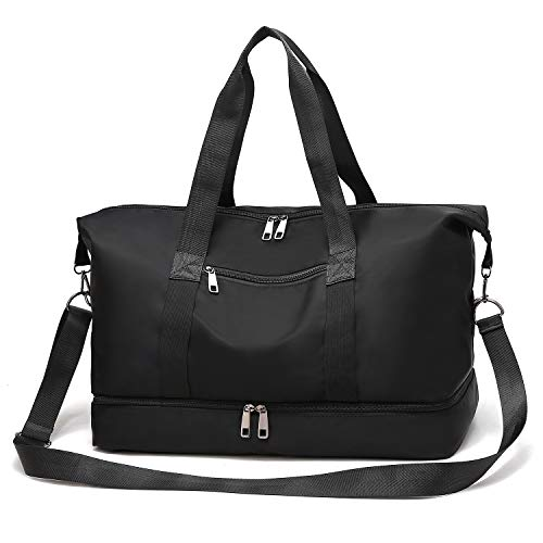 Gym Bag Sports Travel Duffel Bag with Shoes Compartment for Men and Women Lightweight Tote Shoulder Weekender Overnight BagBlack