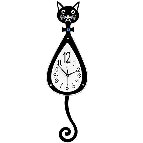 JIEJIELL Creative Wall Clock,Visual Learning Clock Teaching Clock,Silent Wall Decor with Pendulum for Home School Classroom Teachers Parents-Black 25x74cm