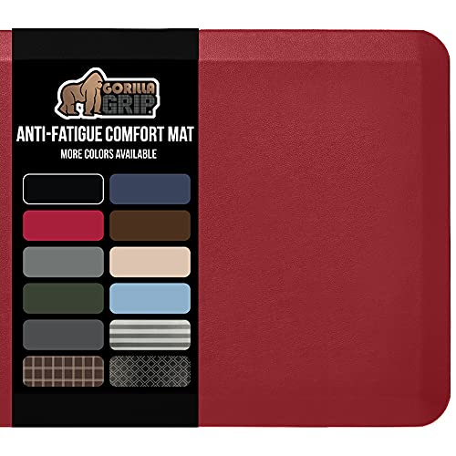 Gorilla Grip Anti Fatigue Cushioned Comfort Mat, Ergonomically Durable, Supportive, Padded, Thick and Washable, Stain-Resistant, Kitchen, Garage, Office Standing Desk Mats, 32x20, Red