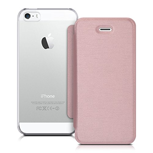 kwmobile Hülle kompatibel mit Apple iPhone SE (1.Gen 2016) / 5 / 5S - Handy Hülle Handyhülle - Schutzhülle Klapphülle Rosegold Transparent