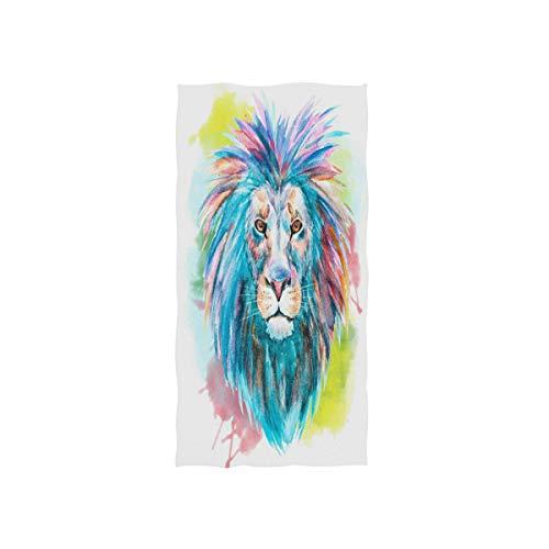 MNSRUU Handtuch mit Löwen-Motiv, Aquarell, 76 x 38 cm