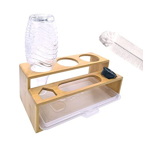 Escurridor de Soda Stream con bandeja de goteo + cepillo – Escurridor de botellas de cristal, soporte para botellas, soporte de bambú para 3 botellas SodaStream de cristal y plástico