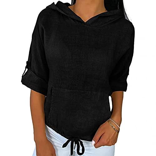 XUNN Camicia da donna con maniche arricciate, casual, con cappuccio in tinta unita, con tasca con coulisse, Nero , XXL