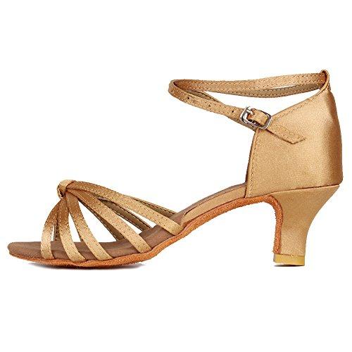 HROYL Mujer Zapatos de Baile Latino/Moderno/Samba/Chacha para Mujer Satin Zapatos de Baile de Salón S5-217 Beige EU 37