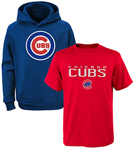 MLB Youth 8-20 Polyester Performance Primary Logo Pullover Sweatshirt Hoodie & T-Shirt 2 Pack Set (Medium 10/12, Chicago Cubs)