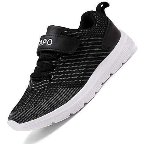 ITAPO Kinder Schuhe Turnschuhe Mädchen Hallenschuhe Jungen Sportschuhe Laufschuhe Klettverschluss Ultraleicht Atmungsaktiv Sneaker, B Schwarz 38 EU