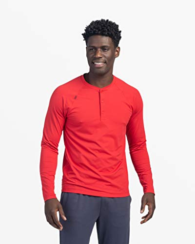 Rhone Reign Henley Cherry Red X-Large, Workout Shirts for Men