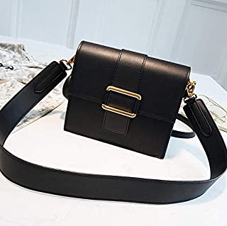 Adebie - Luxury Handbag 2019 Fashion Vintage New Simple Square Bag Nubuck Leather Women's Designer Handbag Retro Shoulder Messenger Bags 19 X 9 X 17 cm Black []