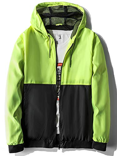 MADHERO Mens Windbreaker Jacket Lightweight 90s Retro Wind Breakers Yellow Black Size L