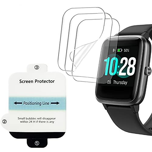 smaate Soft Screen Protector Compatible with Letsfit EW1 and ID205L ID205G ID205U ID205 Veryfitpro smartwatch, 3-Pack, Full Coverage, Anti-Scratch, High Transparency, Bubble Self-healing ID205LPTR03