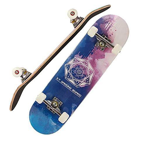 YJCol Skateboard 80X20 cm, Profi Komplettes Skateboard, 8 Lagen Ahornholz Longboards Für Teenager Erwachsene Anfänger Mädchen Jungen Kinder,Tarot Mystery