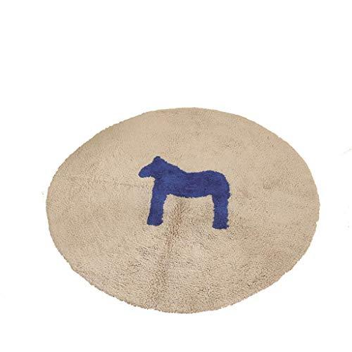 NICOLAS Ronda De Algodón De La Alfombra, De Arrastre De La Estera Dormitorio De Noche De La Alfombra Salón Área Alfombra Lavable A Mano De Alfombras (Color : Sapphire Blue, Size : 100cm)