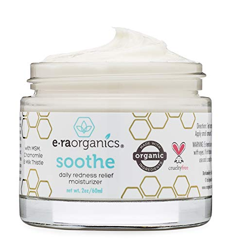 Era Organics Rosacea Redness Relief Cream - Soothe Anti Inflammatory Calming Face Moisturizer For Rosacea, Eczema, Acne Prone Skin- Dry, Sensitive Skin Care Milk Thistle, MSM, Avocado Oil & Chamomile