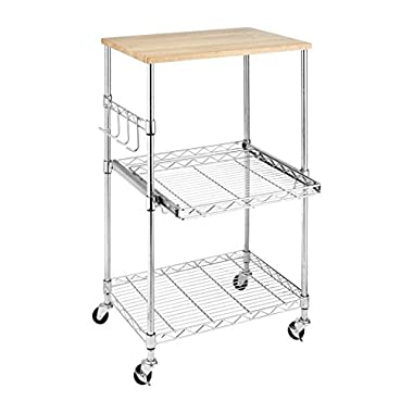 Whitmor Supreme Microwave Cart with Locking Wheels - Chrome with Food Safe Cutting Board
