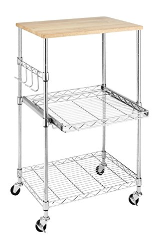 Whitmor Supreme Microwave Cart | With Food Safe Board