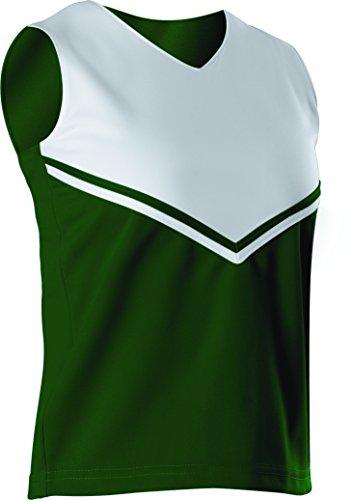 Alleson Girls Cheerleading V Shell Top with Braid, Dark Green/White, Medium