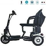 Daxiong Eléctrica Plegable Triciclo motorizado Vespa, Silla de Ruedas eléctrica Viajes Seguridad Viajes Ayuda, Rojo,B