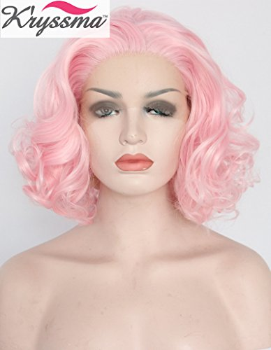 K'ryssma Fashional Free Part Baby Pink Hair Wigs Short Wavy Synthetic Hair Glueless Lace Front Wigs for Party Hest Resistant Fiber Half Hand...