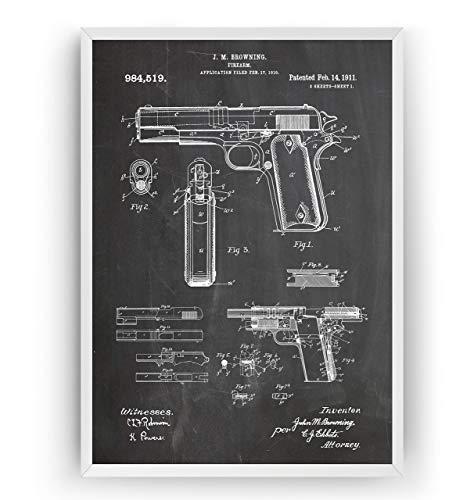 Colt 45 1911 Handfeuerwaffe Patent Poster - Gun Jahrgang Drucke Drucken Bild Kunst Geschenke Zum Männer Frau Entwurf Dekor Vintage Art Gifts Blueprint - Rahmen Nicht Enthalten