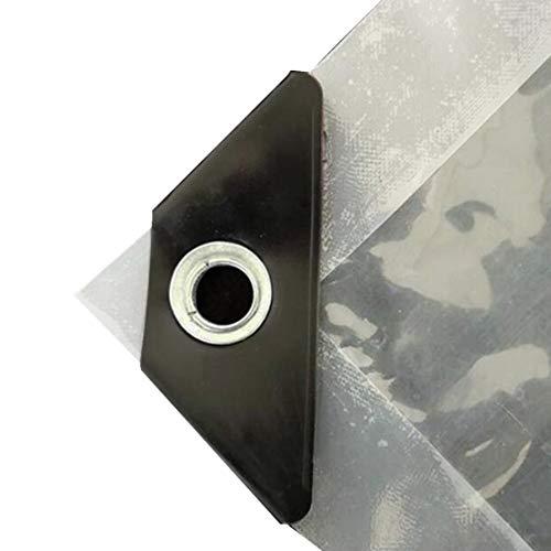 MFASD kunststof afdekzeil met ogen, versterkt, transparante afdekking, scheurbestendig, dekzeil voor dak/tuin/zwembad/terras