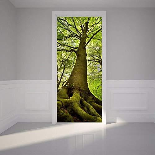 XXCCTT 3D Wohnzimmer Türtapete Wandbilder Selbstklebend Dreidimensional Baum Grün Wald (80*200Cm) Türtapete Wandbild Selbstklebend Pvc Wasserdicht Abnehmbar Türfolie Türposter Fototapete Schlafzimmer