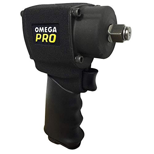 Omega Pro 82001 1/2 Inch Air Impact Wrench - Mini Pneumatic Compact Impact Gun 500 ft/lb