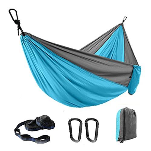 Portable Parachute Leisure Travel Hammock,Camping Hammock with Ropes Two Carabiners,Parachute Hammock,Double Tree Hamock for Travel, Beach, Hiking,Backyard (Blue)