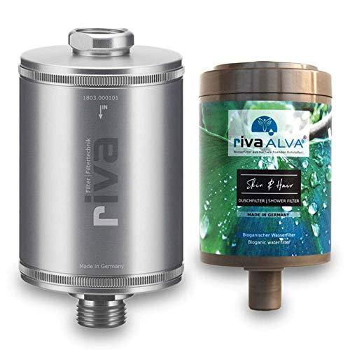 rivaALVA Spirit Filter Duschfilter Set Wasserfilter für Haut und Haar mit energetisierenden Schungit-Mineralstein 100% Biologisch, Plastikfrei, Gehäuse u. Kartusche, silber