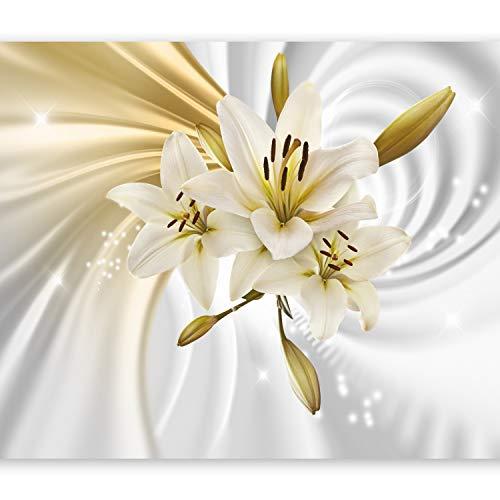murando Fototapete Blumen Lilien 350x256 cm Vlies Tapeten Wandtapete XXL Moderne Wanddeko Design Wand Dekoration Wohnzimmer Schlafzimmer Büro Flur Abstrakt Weiss Grau Gold Silber b-A-0317-a-b
