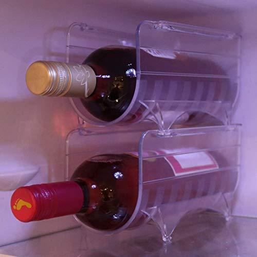 Botellero para frigorífico, soporte para 2 botellas, apilable, organizador de vino, paquete de 2