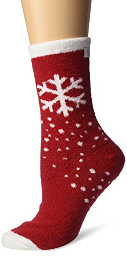 Karen Neuburger Women's Super Soft Cozy Fluffy Warm Lounge Holiday Novelty Sock, Crimson Snowflake, One Size Fits All