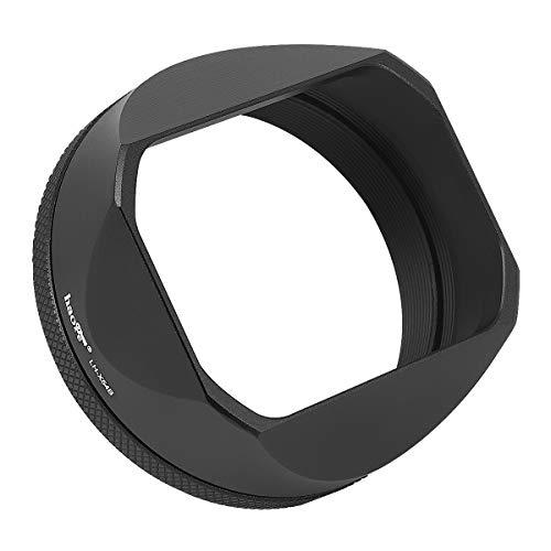 Haoge LH-X54B Metall Rechteckig Sonnenblende Gegenlichtblende mit 49mm Adapterring für Fujifilm Fuji FinePix X100V Kamera Objektiv Schwarz