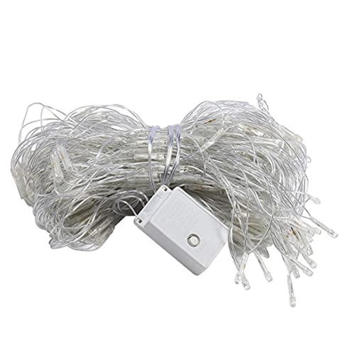 XKJFZ Net Luces con Pilas de la Malla con 200 Luces LED Blanco cálido 3x2m lámpara Neta para Navidad Decoraciones del jardín(EU Plug)