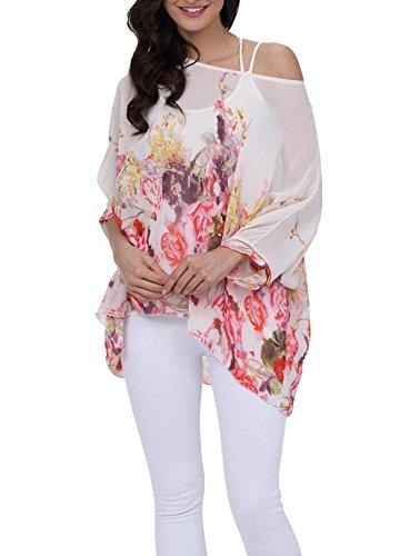 LazLake Damen Chiffon Bluse Lose Shirt Blumen Tunika Fledermaus Batwing Tops 291