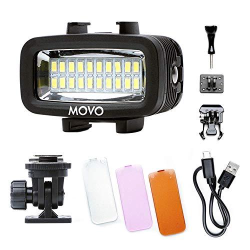 Movo LED-WP Luz de vídeo LED subacuática de alta potencia recargable con cámara de acción y soportes para zapatos, compatible con...