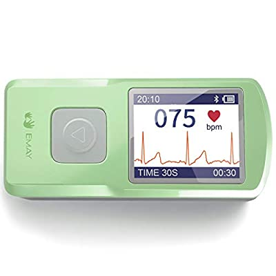 EMAY Wireless EKG Monitor | Records ECG & Heart Rate Anytime Anywhere for Personal Use | Works with iOS & Android Smartphones