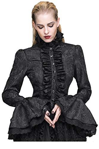 Devil Fashion Gothic Halloween Schwarzes Hemd Damen Gothic Seersucker große Hülsen Blusen Langes Hülsen Sommer Rüschen Shirt