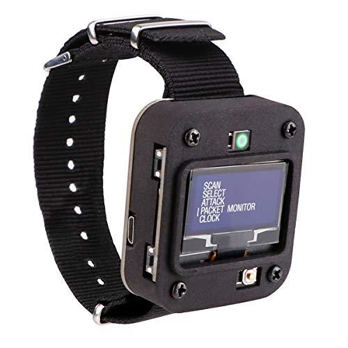 Seamuing WiFi Test Tool ESP8266 WiFi Deauther Uhr V2 DSTIKE NodeMCU ESP8266 Programmierbare Entwicklungsplatine Eingebaute 500mAh Batterie mit OLED Display, Armband und 3D-Druckgehäuse