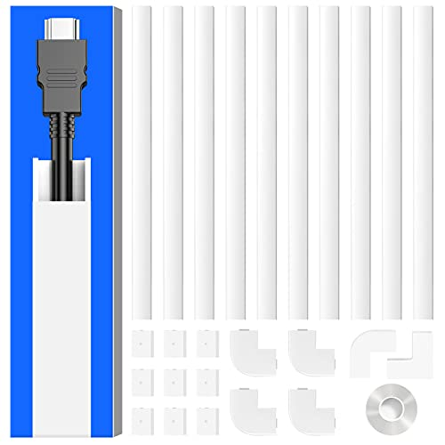 Cord Hider Cover Wall, Delamu 157in Cable Concealer Raceway, Cable Hider for One Cord, Paintable Wire Covers for Cords for Wall Mounted TVs, Cable Management System, 10x L15.7in W0.59in H0.4in, CC03