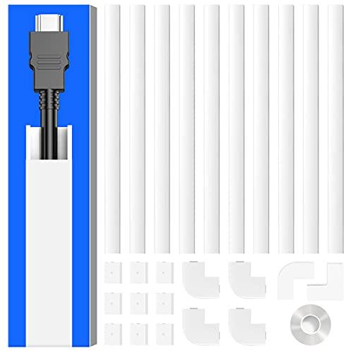 Kabelkanal Klein, Mini Kabelkanal Selbstklebend Weiss, lackierbarer Drahtkanal zum Verstecken eines einzelnen Stromkabels oder TV-Kabel zu Hause oder im Büro–10 x 40cm x 1,5cm x 1,0cm (LxBxH)